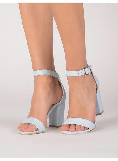 Mecrea Kalın Topuklu Sandalet Turkuaz